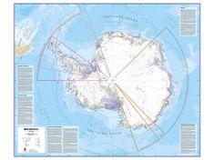 Antarktida politická nástěnná mapa 100x120 cm - papír
