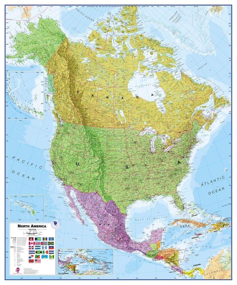Severní Amerika politická nástěnná mapa 120x100 cm - papír