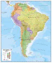 Jižní Amerika politická nástěnná mapa 100x120 cm