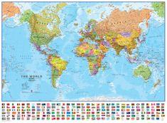 Svět politický nástěnná mapa 136x100 cm s vlajkami