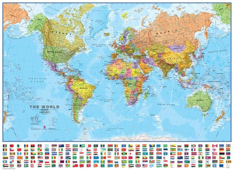 Svět politický nástěnná mapa 136x100 cm s vlajkami - lamino s kovovými lištami