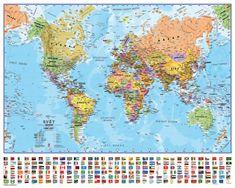 Svět politický nástěnná mapa 100x73 cm s vlajkami ČESKY - papír