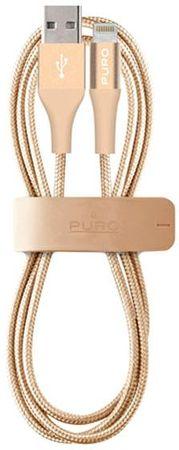 Puro tkan kabel Apple lightning, 2.4A, 1m, zlat
