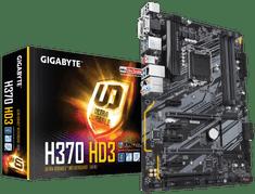 Gigabyte osnovna plošča H370 HD3, DDR4, SATA3, USB3.1 Gen2, HDMI, LGA1151, ATX