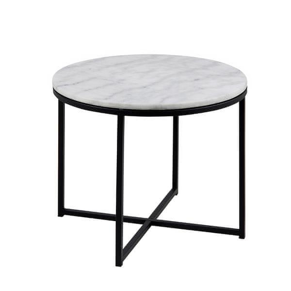 Design Scandinavia Konferenční stolek Claire kulatý, 55 cm, mramor