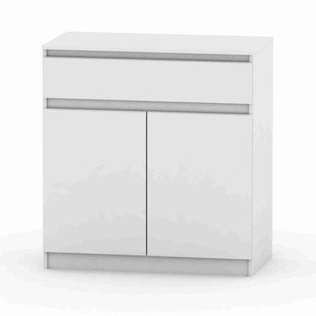 2 dverová komoda s jedným šuplíkom, biela, HANY 007