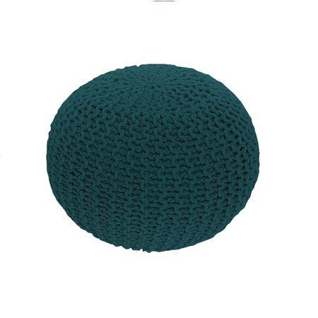 Pletený taburet, bavlna, petrolejová,  GOBI TYP 2
