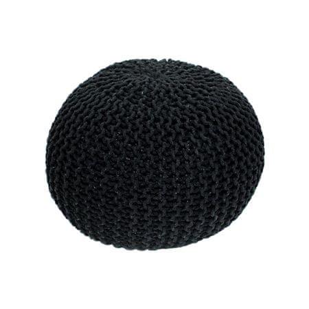 Pletený taburet, čierna bavlna, GOBI TYP 1