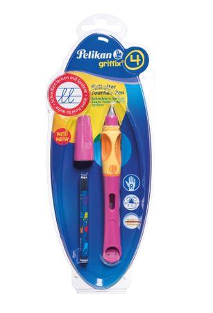 Pelikan nalivno pero na bombico za desničarje Griffix 4, roza