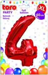 Toro Balónek XL Číslice 4 červená 60 cm