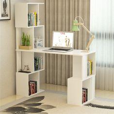PC stôl s regálom, biela, FLOKI