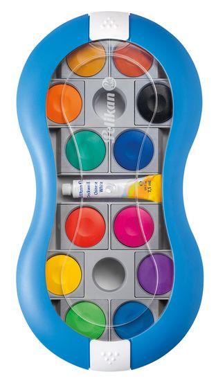 Pelikan akwarele dla dzieci Space+ 12 kolorów, niebieskie