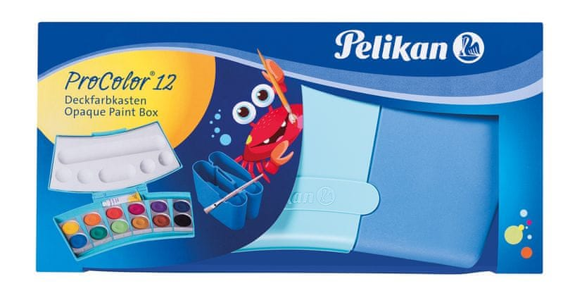 Pelikan Vodové barvy ProColor 12 barev, v modré krabičce