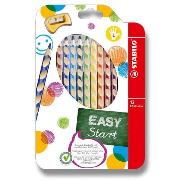 Stabilo Pastelky EASYcolors pro leváky 12 ks + ořezávátko