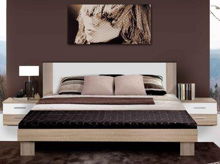 HELEN, postel 180x200 cm s nočními stolky, dub sonoma/bílá