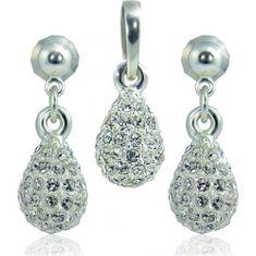 MHM Souprava šperků Kapka M4 Crystal 3401 stříbro 925/1000