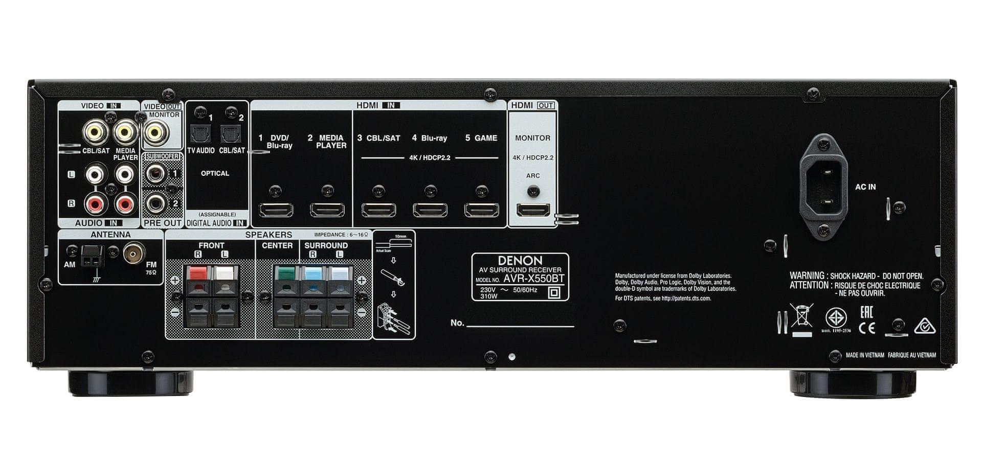 AV přijímač a zesilovač Denon AVR-X550BT snadné nastavení dolby vision hdr technologie 4K ultra hd hdmi vstup