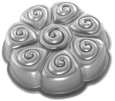 Nordic Ware Forma na bábovku skořicoví šneci, stříbrná
