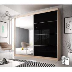 Skriňa s posúvacími dverami, dub sonoma/čierny lesk, 183x218, MULTI 31
