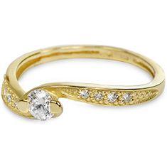 Brilio Zlatý prsten s krystaly 229 001 00458 zlato žluté 585/1000