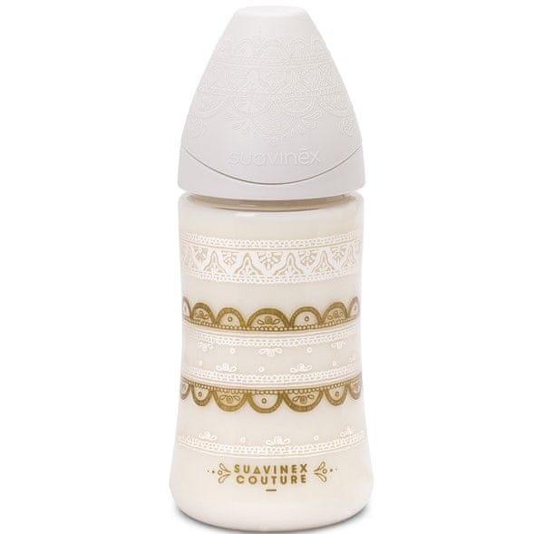 Suavinex Couture Premium Láhev 270ml Silikon, Bílá
