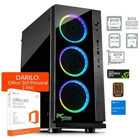 PCplus namizni računalnik Gamer i5-8400/8GB/SSD240GB+1TB/GTX1050Ti/W10H + Office 365 Personal (137063)