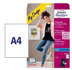 Avery Zweckform folije za preslikavo na temne majice MD1003, 210 x 297 mm