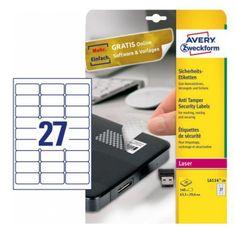 Avery Zweckform varnostne nalepke L6114-20 63,5 x 29,6 mm, zavitek 20 listov
