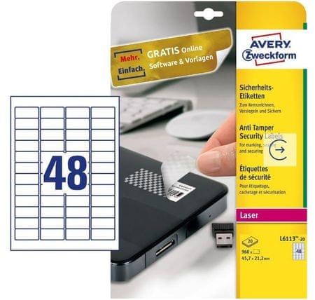 Avery Zweckform zaščitne Anti Tamper etikete, L6113-20, 45.7 x 21.2 mm