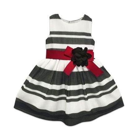 Joe and Ella Dívčí pruhované šaty s květinou - černo-bílé 128