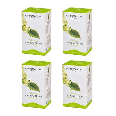 Hampstead Tea London BIOzelený čaj s jazmínom a bergamotom 20ks x 4