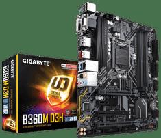 Gigabyte osnovna plošča B360M D3H, DDR4, USB3.1 Gen2, LGA1151, mATX