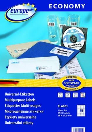Europe100 bele papirne etikete ELA001, 38 x 21,2 mm