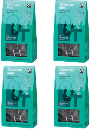 London Tea Company Fairtrade zelený čaj pyramidový Gunpowder s marockou mátou 15ks x4