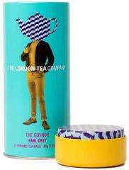 London Tea Company Fairtrade černý čaj pyramidový Earl Grey v plechové dóze 15ks