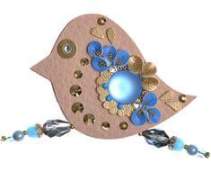 Petra Švarcová Hnedá brošňa s modrými kameňmi Vták