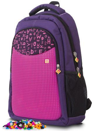 Pixie Crew Studentský batoh purpurová písmena
