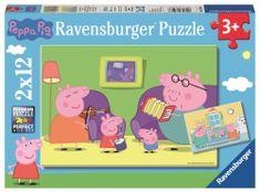 Ravensburger sestavljanka Pujsa Pepa celotna družina, 2x12 kosov