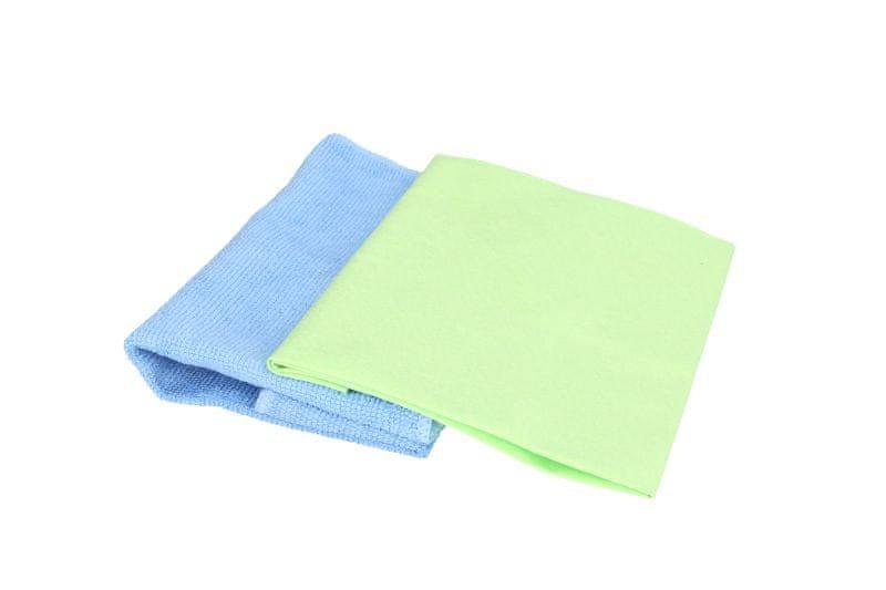 KAJA Utěrka z mikrovlákna, 2 ks: hladké mikrovlákno 40 x 36 cm, zelená; mikrovlákno froté 32 x 30 cm, modrá