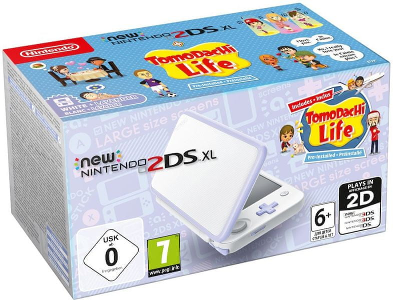 Nintendo New 2DS XL, bílá/fialová + Tomodachi Life (NI3H97260)