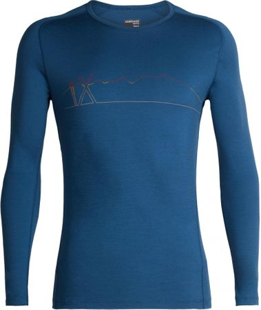 Icebreaker Koszulka męska z długim rękawem Mens 200 Oasis Deluxe Raglan LS Crewe Single Line Ski Prussian Blue XXL