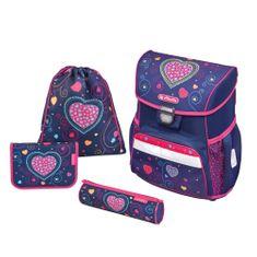 Herlitz Školní batoh Loop srdce modré - vybavený
