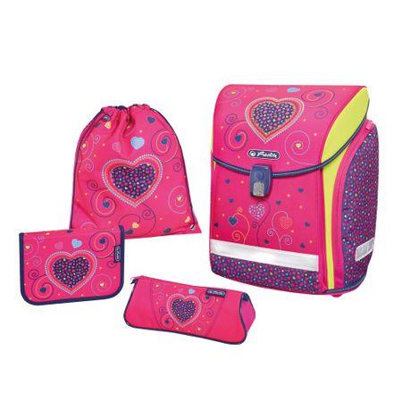 Herlitz Školský batoh Midi srdce ružové - vybavený