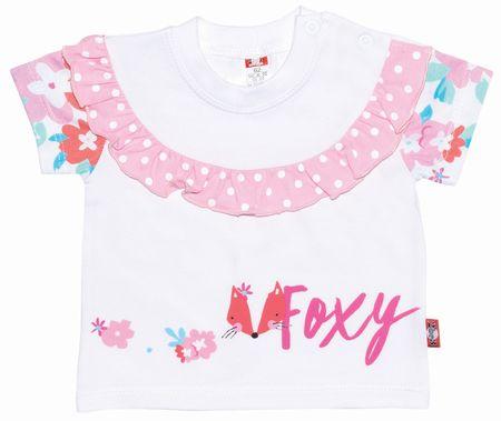 2be3 T-shirt dziewczęcy Foxy 68 biały/różowy