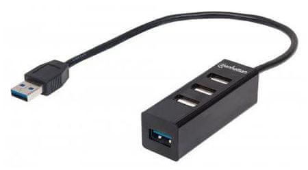 Manhattan 3 - portni USB Combo hub 2.0, 1 x USB 3.0, črn