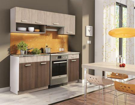 Kuchyně MOORENO 120/180 cm, akácie/dub sonoma