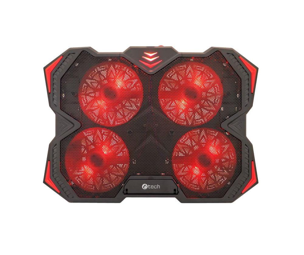 """C-Tech Chladící podložka C-TECH Zefyros (GCP-01R), casual gaming, 17,3"""", červené podsvícení, regulace otáček"""