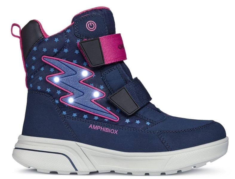 Geox dívčí svítící zimní boty Sveggen 28 modrá