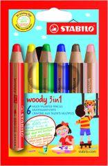 Stabilo Barevné pastelky Woody, 6 barev, maxi, 3v1
