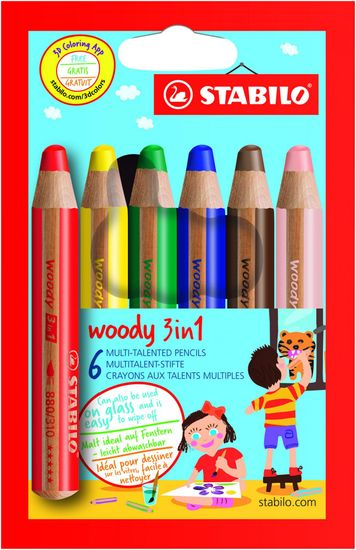 Stabilo Woody színes ceruza, 6 szín, maxi, 3 az 1-ben